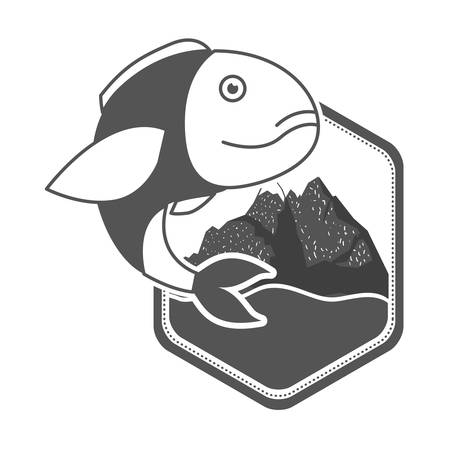 monochrome silhouette of diamond shape emblem mountains and river with bass fish to side vector illustration