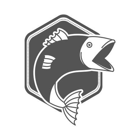 monochrome silhouette emblem with fish bigmouth vector illustration