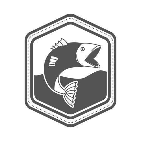silhouette monocromatico di emblema forma di diamante con pesce bigmouth nel fiume illustrazione vettoriale