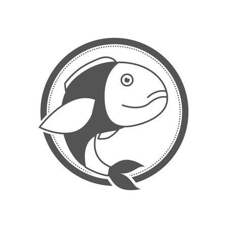 monochrome silhouette of circular shape emblem with bass fish inside vector illustration