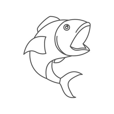 sketch silhouette of open mouth fish vector illustration Illustration