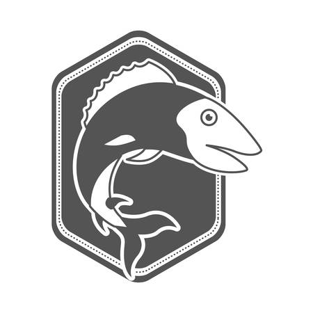 monochrome silhouette of diamond shape emblem with trout fish vector illustration Illustration