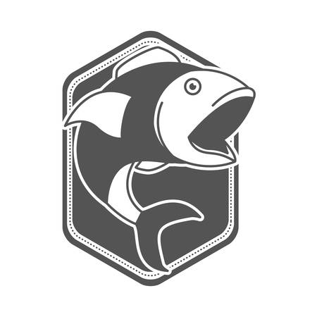 monochrome silhouette of diamond shape emblem with open mouth fish vector illustration