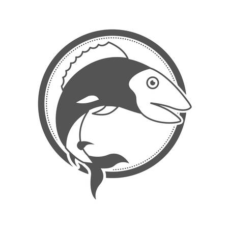 monochrome silhouette of circular shape emblem with trout fish vector illustration Illustration