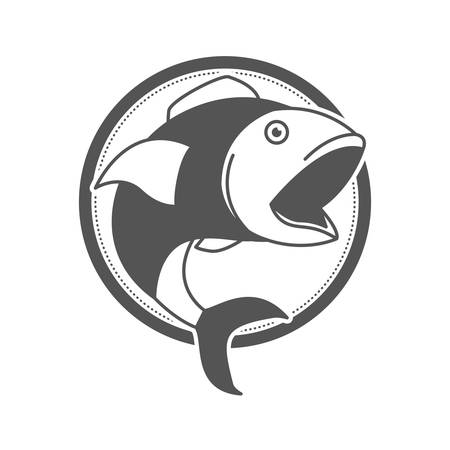 monochrome silhouette of circular shape emblem with open mouth fish vector illustration