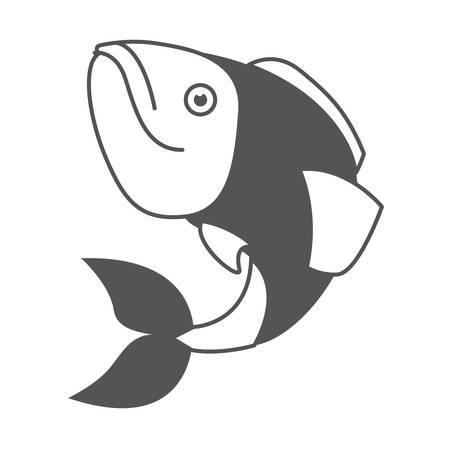 monochrome silhouette of largemouth bass fish vector illustration