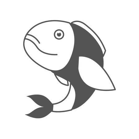 monochrome silhouette of bass fish vector illustration Çizim