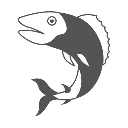 freshwater fish: monochrome silhouette of trout fish vector illustration