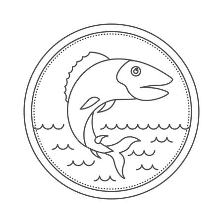 sketch silhouette of circular emblem with waves of sea and trout fish vector illustration