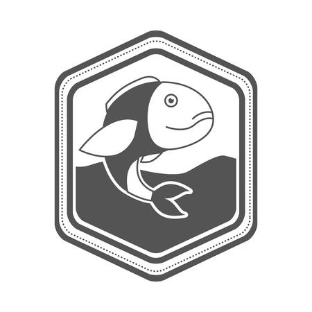 monochrome silhouette of diamond shape emblem with bass fish inside in the river vector illustration