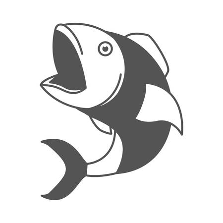 monochrome silhouette of open mouth fish vector illustration Illustration