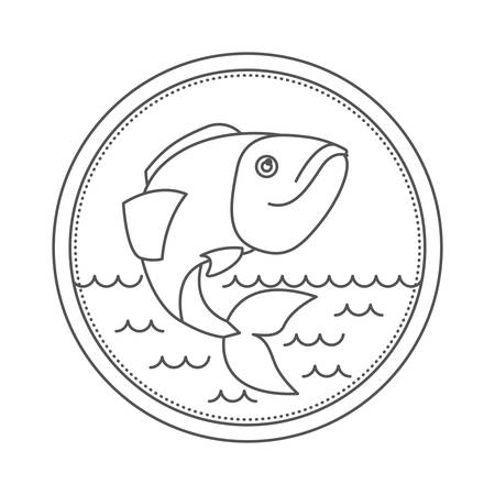 sketch silhouette of circular emblem with waves of sea and largemouth bass fish vector illustration Illustration