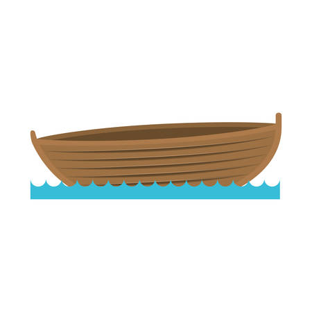 color silhouette wooden fishing boat in lake vector illustration Ilustração