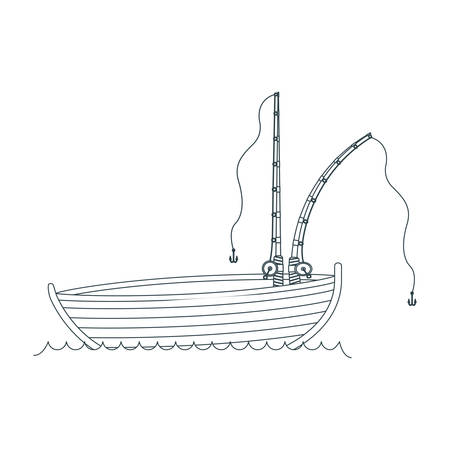rowboat: blue dark silhouette wooden fishing boat in lake and two cane vector illustration