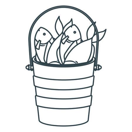 blue dark silhouette bucket full fish vector illustration