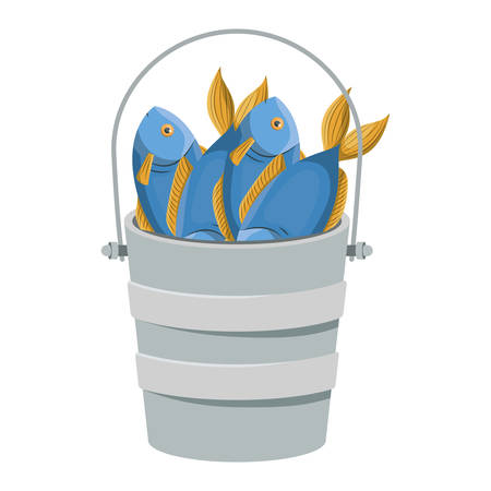 colorful silhouette bucket full fish vector illustration