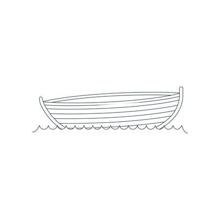 blue dark silhouette wooden fishing boat in river vector illustration Illustration