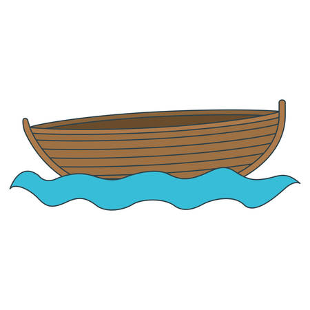 rowboat: colorful silhouette wooden fishing boat in river vector illustration