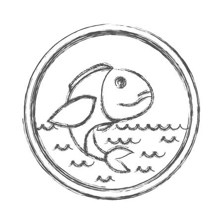 blurred sketch silhouette of circular emblem with waves of sea and bass fish vector illustration
