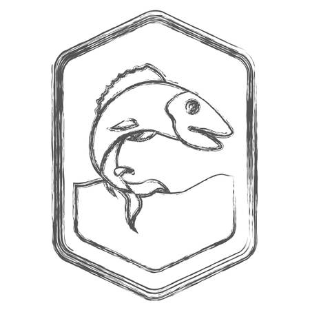 blurred sketch silhouette of diamond shape emblem with trout fish in the river vector illustration Illustration