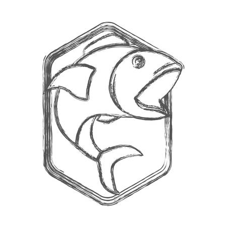 blurred sketch silhouette of diamond shape emblem with open mouth fish vector illustration