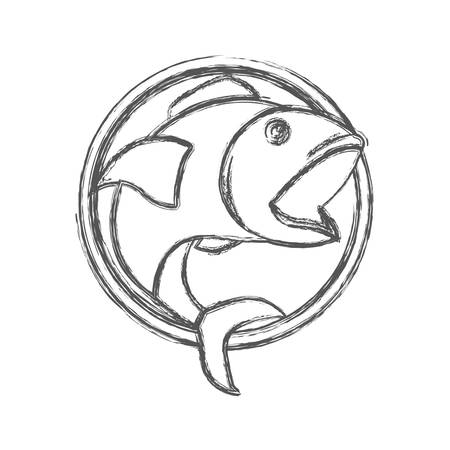 blurred sketch silhouette of circular shape emblem with open mouth fish vector illustration