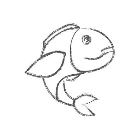 blurred sketch silhouette of bass fish vector illustration Illustration
