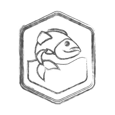 blurred sketch silhouette of diamond shape emblem with largemouth bass fish in the river vector illustration