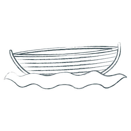 blurred sketch silhouette wooden fishing boat in river vector illustration