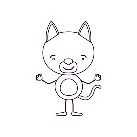 brow: sketch contour caricature of cute cat happiness expression vector illustration