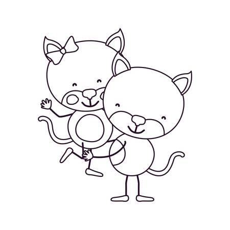 cola mujer: Bosquejo contorno caricatura con par de gatos uno llevando el otro animales lindos amor ilustración vectorial