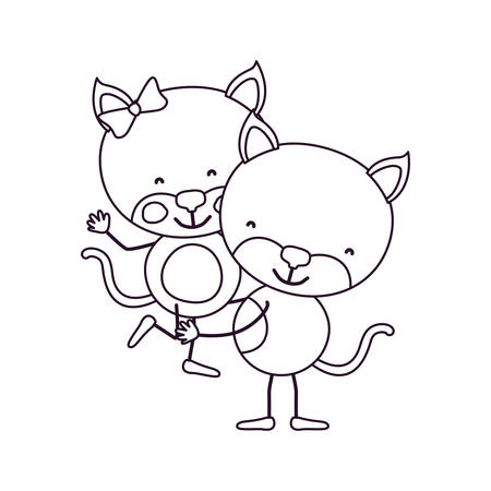 sketch contour caricature with couple of cats one carrying the other cute animals love vector illustration Illustration