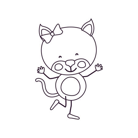 sketch contour caricature of cute expression female kitten in dance pose with bow lace vector illustration