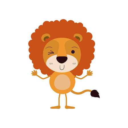 colorful caricature of cute lion wink eye expression vector illustration