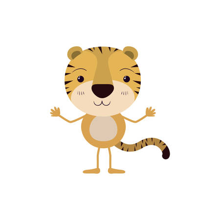 colorful caricature of cute tiger happiness expression vector illustration Vektorové ilustrace
