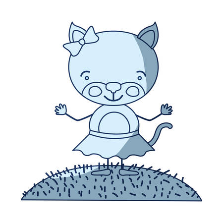blue color shading silhouette scene sky landscape and grass with caricature cute expression female kitten in skirt with bow lace vector illustration Illustration