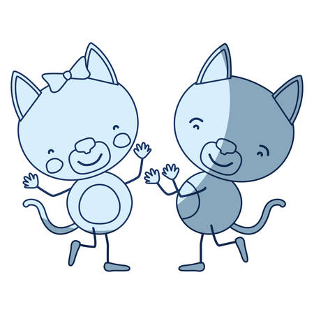 brow: blue color shading silhouette caricature with couple of kittens dancing vector illustration