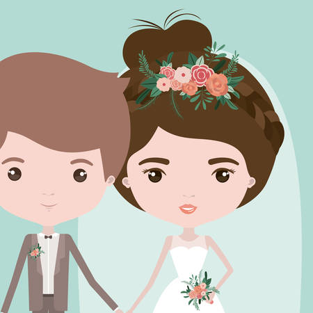 wedded: color background with half body couple of just married young man and woman with collected bun hair vector illustration