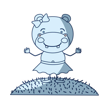 brow: blue color shading silhouette scene sky landscape and grass with caricature cute expression female hippo in skirt with bow lace vector illustration Illustration