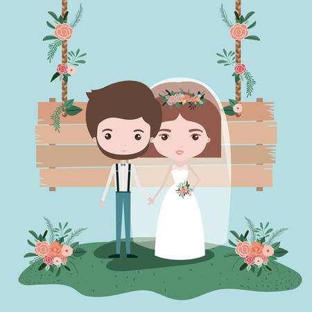 colorful scene with wooden hanging poster and grass with floral ornaments with couple of just married vector illustration