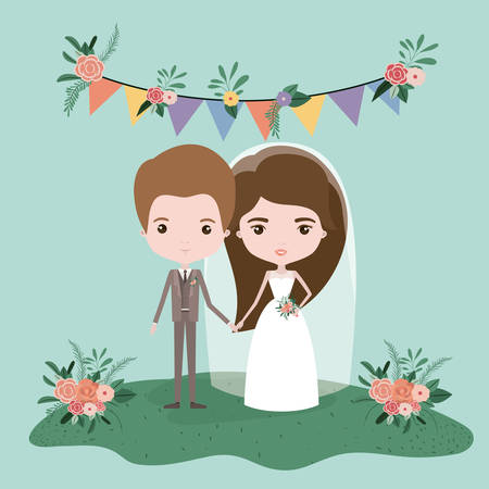 colorful scene with flags decorative and grass with couple of just married under vector illustration Illustration