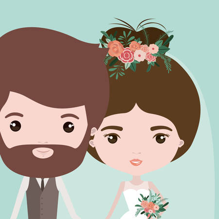 wedded: color background with half body couple of just married vector illustration Illustration