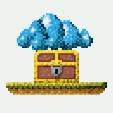 wood crate: color pixelated image meadow with coffer with padlock and cumulus cloud vector illustration