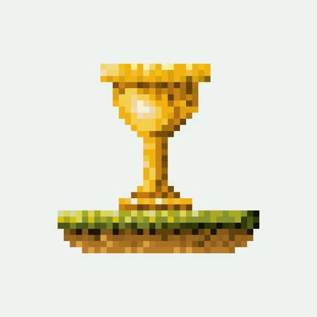 Color pixelated golden trophy in meadow vector illustration.