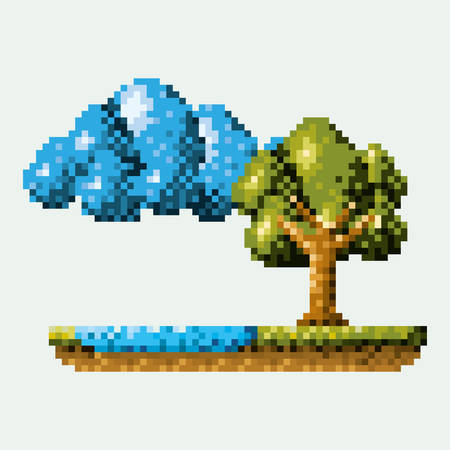 color pixelated forest landscape in meadow with tree next to the river and cloud vector illustration