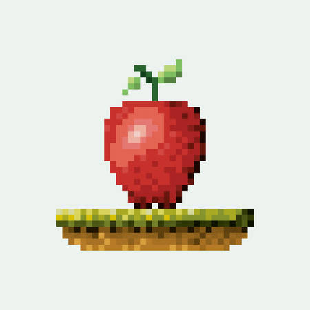 color pixelated apple fruit in meadow vector illustration