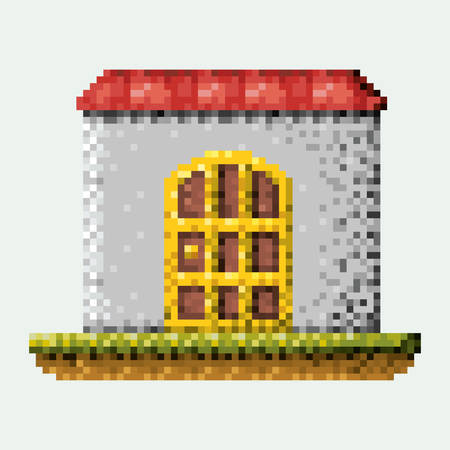 A color pixilated house in meadow vector illustration