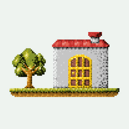 A color pixilated house in meadow with tree vector illustration.