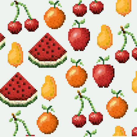 arcades: Color pixelated pattern set collection fruits icons vector illustration.
