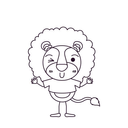 sketch silhouette caricature of cute lion in t-shirt and wink eye expression vector illustration